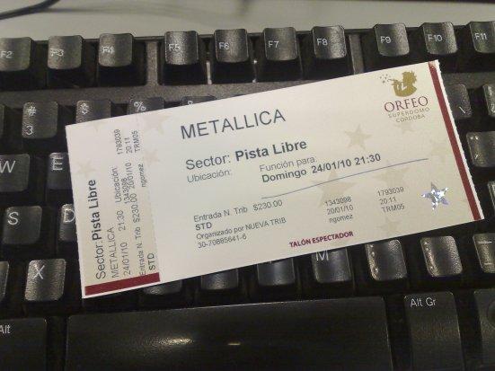 Entrada para Metallica en el Orfeo.